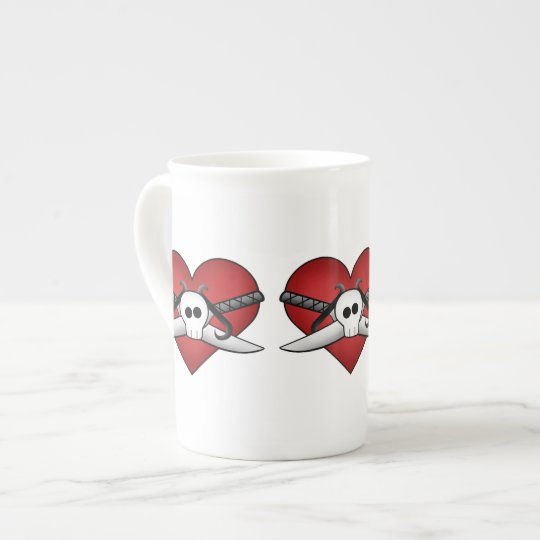 Cute gothic punk anti Valentine heart and dagger Tea Cup