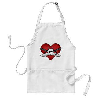 Cute gothic punk heart on guard anti valentine adult apron