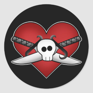 Cute gothic punk heart on guard anti valentine classic round sticker