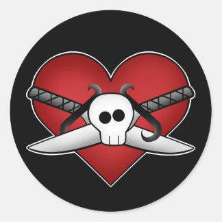 Cute gothic punk heart on guard anti valentine round sticker