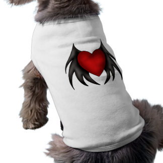 Cute gothic red winged heart dog t shirt