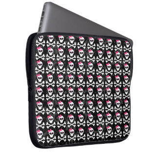 Cute Gothic Skull and Crossbones Girly Skulls Laptop Sleeve