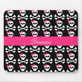 Cute Gothic Skull and Crossbones Girly Skulls Mouse Pad