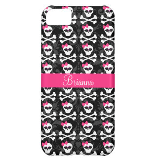 Cute Gothic Skull and Crossbones Pink Girly Skulls iPhone 5C Case
