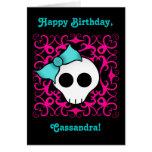 Cute gothic skull birthday for tween or teen girl greeting card
