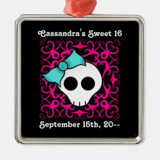 Cute gothic skull birthday keepsake sweet 16 metal ornament