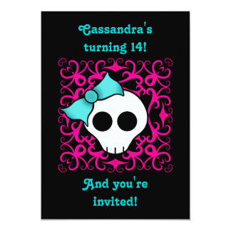 Cute gothic skull birthday party for teen or tween 5x7 paper invitation card