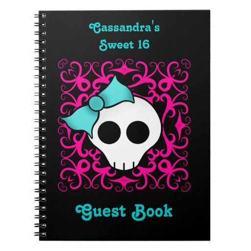 Cute gothic skull birthday sweet 16 guest book notebook