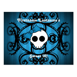 Cute gothic skull blue and black sweet 16 postcard
