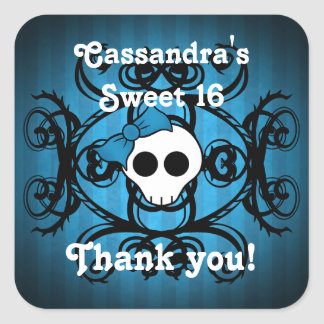 Cute gothic skull blue and black sweet 16 square sticker