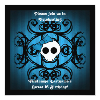 Cute gothic skull  blue black square sweet 16 card