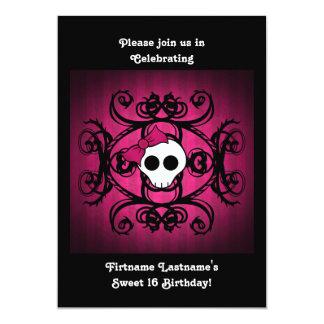 Cute gothic skull fuschia and black 5x7 sweet 16 card