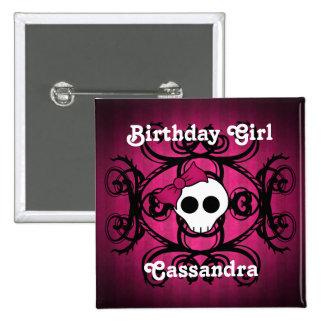 Cute gothic skull fuschia and black sweet 16 pinback button