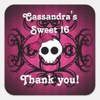 Cute gothic skull fuschia and black sweet 16 square sticker