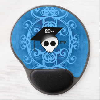 Cute gothic skull graduation monogram gel mousepads