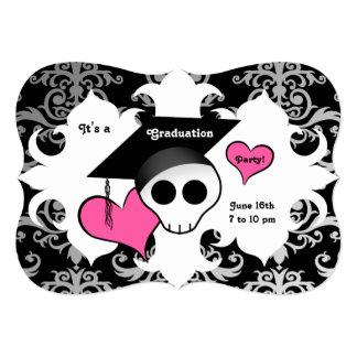 Cute gothic skull graduation party card