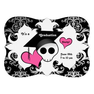 Cute gothic skull graduation party custom invitations