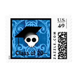 Cute gothic skull graduation stamp