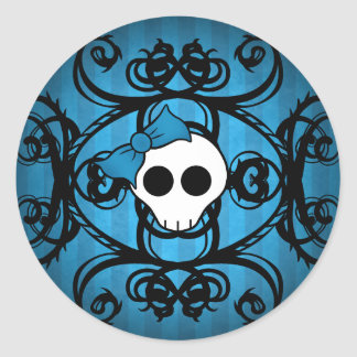 Cute gothic skull on blue and black classic round sticker