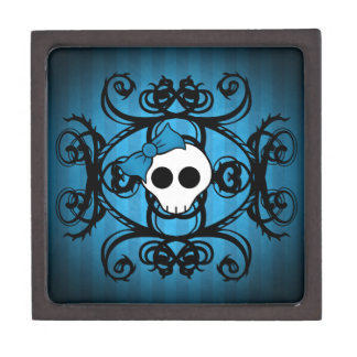 Cute gothic skull on blue and black jewelry box