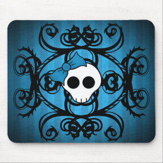 Cute gothic skull on blue and black mouse pad