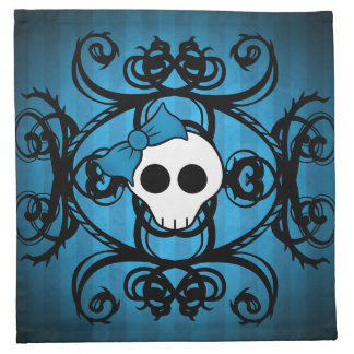 Cute gothic skull on blue and black napkin