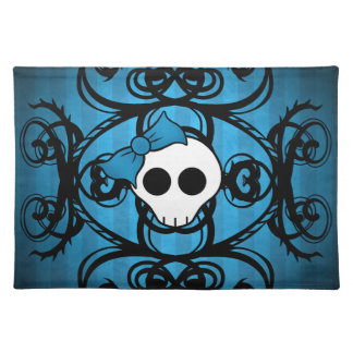 Cute gothic skull on blue and black placemat