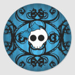 Cute gothic skull on blue and black sticker