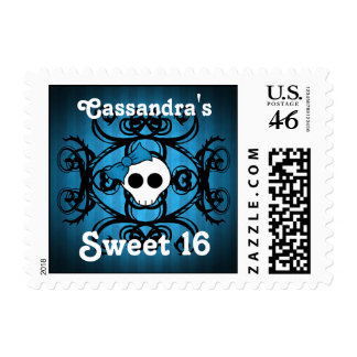 Cute gothic skull on blue and black sweet 16 postage