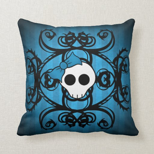 Cute gothic skull on blue and black throw pillows Zazzle