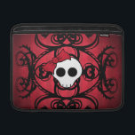 "Cute gothic skull on red and black 13&quot; MacBook sleeve<br><div class=""desc"">Super cute gothic skull with a damask motif in black on a background of red stripes. Shown here on a custom Rickshaw Bagworks MacBook Air 13&quot; Sleeve.</div>"