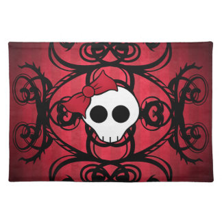 Cute gothic skull on red and black cloth placemat
