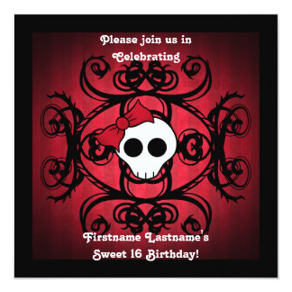 Cute gothic skull on red and black square sweet 16 card
