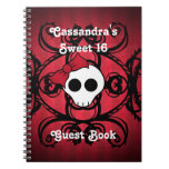 Cute gothic skull on red and black square sweet 16 spiral notebooks