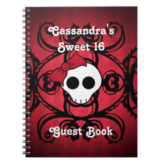 Cute gothic skull on red and black square sweet 16 spiral notebook