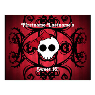 Cute gothic skull on red and black sweet 16 postcard