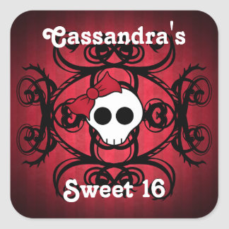 Cute gothic skull on red and black sweet 16 square sticker