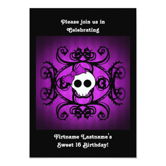 Cute gothic skull purple and black 5x7 sweet 16 5x7 paper invitation card