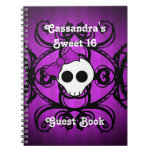 Cute gothic skull purple and black square sweet 16 spiral notebooks