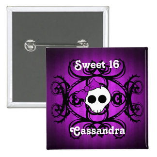 Cute gothic skull purple and black square sweet 16 pinback button