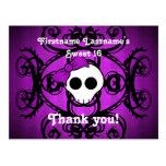 Cute gothic skull purple and black sweet 16 postcard