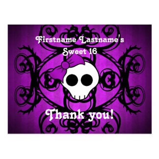 Cute gothic skull purple and black sweet 16 postcard