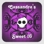 Cute gothic skull purple and black sweet 16 square stickers