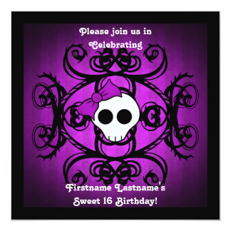 Cute gothic skull  purple black square sweet 16 card