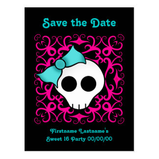 Cute gothic skull sweet 16 save the date postcard