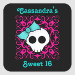 Cute gothic skull sweet 16 square sticker