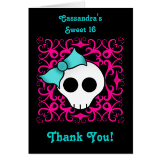 Cute gothic skull sweet 16 thank you card