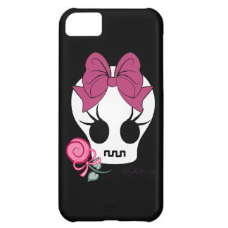 Cute Gothic Skull with Bow Case For iPhone 5C