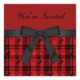 Cute Gothic Skulls & Hearts Black & Red Birthday Invite