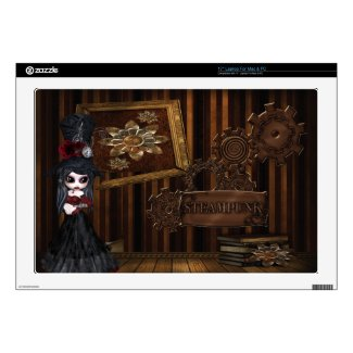 Cute Gothic Steampunk Girl & Cogs Laptop Skin musicskins_skin
